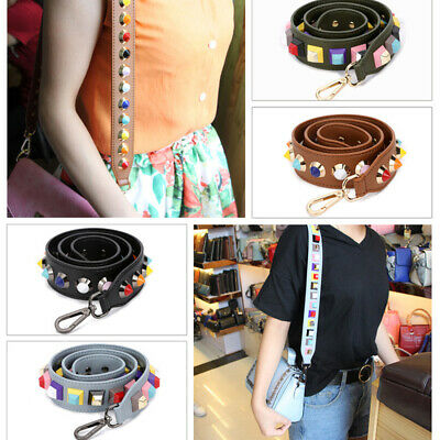 Replacement Strap Colorful Leather HandBag Shoulder Flower Rivet Belts For Bag