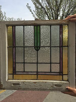 1890-1920s Vintage Stained Glass Window 24.5x22 Leaded NJ Green Purple Camden