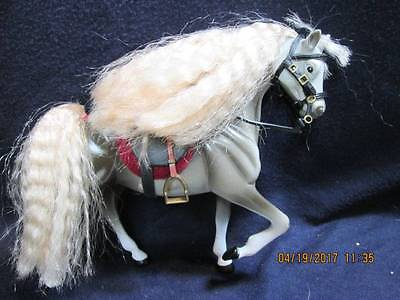 "Horses - Toy Model Horse Dapple Gray with Saddle & Bridal 7"" Tall"