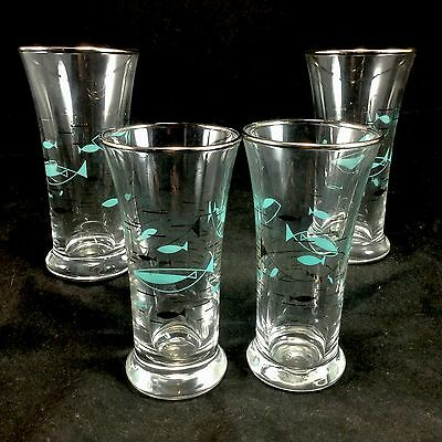 Set of 4 Libbey Mid Century Modern Atomic Fish Shot Glasses Abstract Turquoise