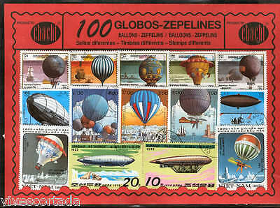 100 stamps different world used @@ Theme : zeppelins and  BALLOONS @@