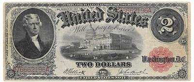 Legal Tender Red Seal Series of 1917 $2 Large Size Note, Fine/VF - P306
