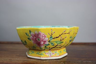 19th/20th C. Chinese Yellow-Ground Famille-Rose Porcelain Bowl