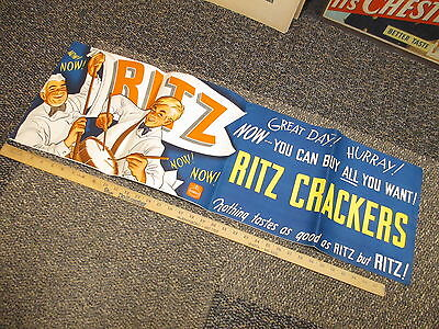 NABISCO 1940s grocery store display sign RITZ crackers flag snare drum poster