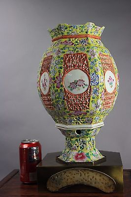 19th/20th C. Chinese Famille-rose Hexagonal Lantern and Stand Lamp Inlaid Jade