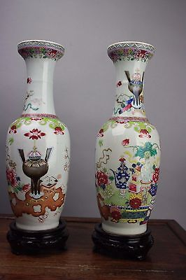 18th/19th C. Chinese Pair Famille-rose Enameled Vases