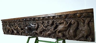 Carved Wood Drawer Antique French Angel Evil Carving Salvaged Furniture Chateau