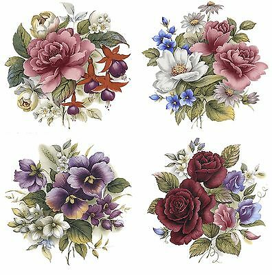 """4 Flower Rounds Rose Daisy Pansy 3"""" Waterslide Ceramic Decals Bx"""