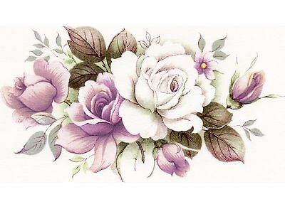 """4 Pink White Roses 4"""" X 2-1/4"""" Waterslide Ceramic Decals Xx"""