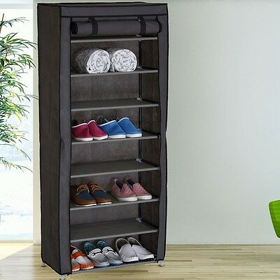 Luxury Clothing Fold Wardrobe Fabric Attic Storage 8 Fan Shoes Stand
