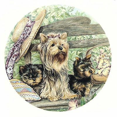 "2 Yorkie Yorkshire Dogs Garden Bench  3-1/2"" Waterslide Ceramic Decals Xx"