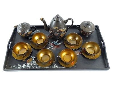RARE Antique Chinese FOOCHOW Mam Chung Kee Ware Hand Painted Gold Washed Teaset