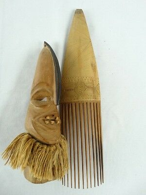 hand carved & Etched African Bamboo Hair comb & Witch Doctor Figure