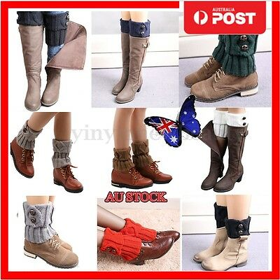 Women Crochet Knitted Button Cover Boot Knee Socks Leg Warmers Cuffs Toppers AU