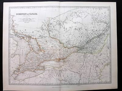 Johnston 1883 Antique Map. Dominion of Canada (Western Sheet)