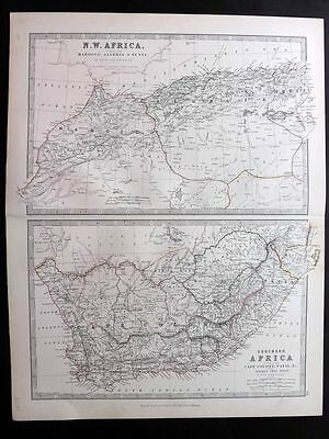 Johnston 1883 Antique Map. NW Africa & Southern Africa