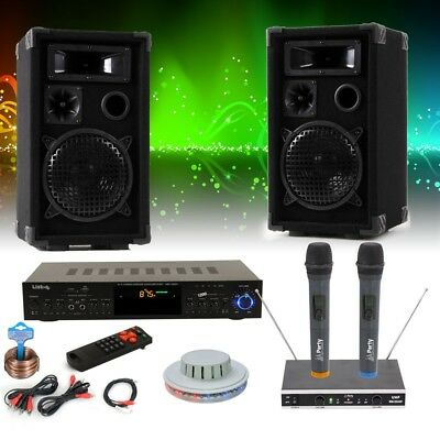 PA DJ Karaoke Musik Anlage USB SD MP3 Bluetooth Receiver RGB LED Funk Mikrofon