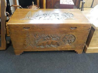 Vintage Shanghai Arts  Hand Carved Chinese Camphor Wood Chest / Blanket Box