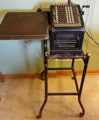 Antique Burroughs adding machine with stand cart glass sides no 9 early 1900s
