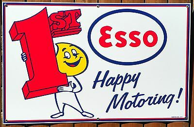 """LARGE 28"""" X 18""""  PORCELAIN ESSO 1st GAS STATION SIGN 1940's - 1950's """"STYLE"""""""