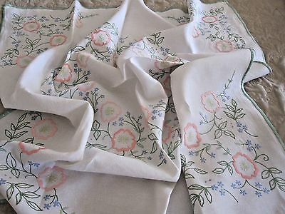 Lovely Vintage Hand Embroidered Linen Tablecloth