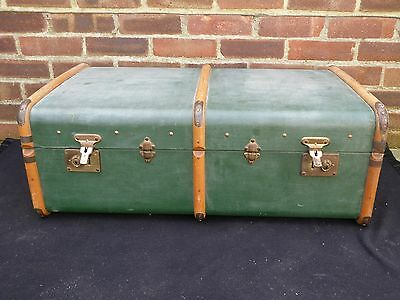 Vintage Retro Green Steamer Trunk Chest Storage Box Coffee Table Suitcase