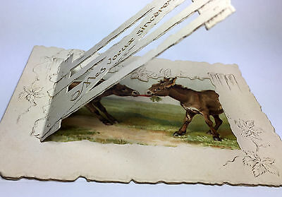 DONKEYS play w/CARROT Old Victorian GREETING CARD. Novelty VTC gate open/close