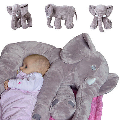 Elephant Cuddly animal toy Pillow Baby Support pillow Plush elephant 68 cm grey
