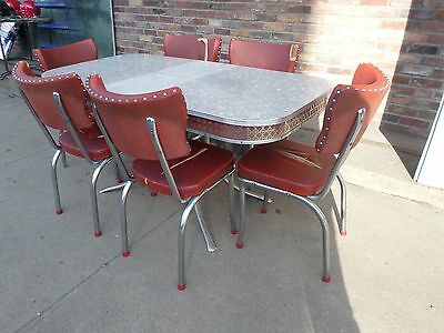 Vintage Mid Century Chrome Formica Cracked Ice Red Kitchen Table & 6 Chairs Leaf