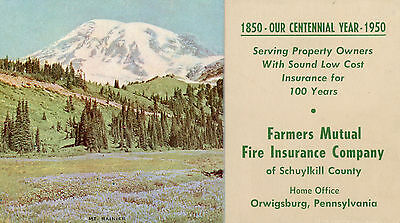 """Vintage Ink Blotter """"farmers Mutual Fire Ins. Company"""" 1950 Ortwigsburg Pa"""