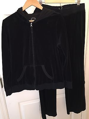 Used Motherhood Maternity L Large Velour Track Suit Black Euc