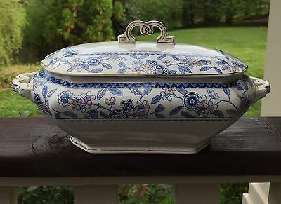 Antique Brownfield & Sons Berne vegetable serving dish tureen blue and white