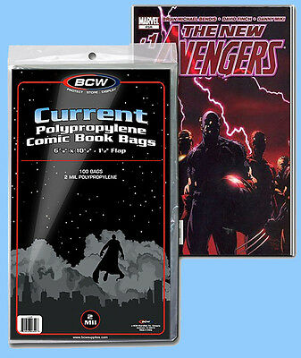 BCW: Comic Bags: CURRENT or CURRENT-THICK Size: 10 Packs/100ea. *1000ct/CASELOT
