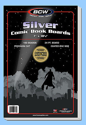 BCW: Comic Book Acid-Free Backing Boards: SILVER Size:  200ct  *Ship FREE in USA
