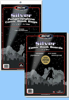 BCW: Comic Bags + Boards Combo: SILVER Size:  200 of each     *Ships FREE in USA