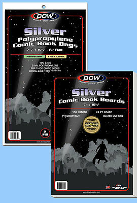 BCW: Comic Resealable Bags + Boards Combo:SILVER Size:100each *Ships FREE in USA