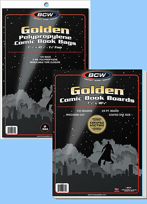 BCW: Comic Bags + Boards Combo: GOLDEN Size:  100 of each     *Ships FREE in USA