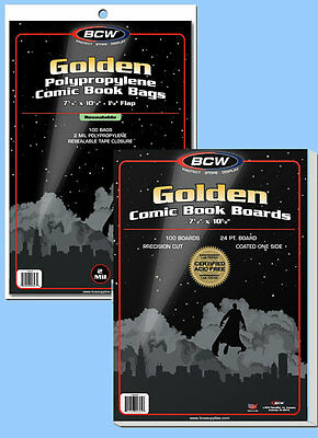 BCW: Comic Resealable Bags + Boards Combo:GOLDEN Size:100each *Ships FREE in USA