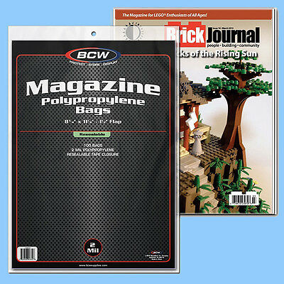 BCW: Magazine or Mag-Thick Size RESEALABLE Bags: 1 Pack (100ct) *FREE SHIP in US