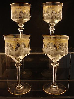 Four Saint Louis Gilt Glass Wine Hock Etched Pattern