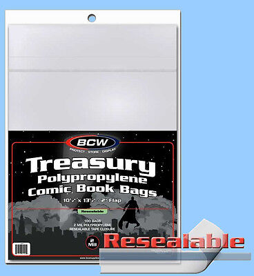 BCW: TREASURY-COMIC Size RESEALABLE Bags:   1 Pack (100ct) *FREE SHIPPING in USA