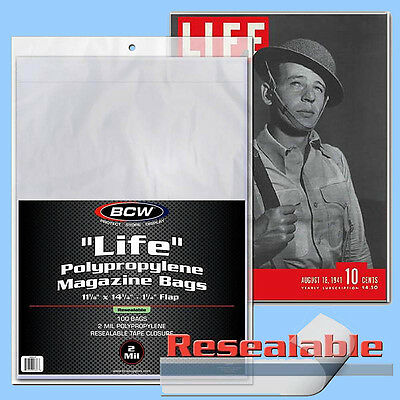 BCW: LIFE MAGAZINE Size RESEALABLE Bags:11 1/8x14¼+flap 1pk/100ct *FREE SHIP USA