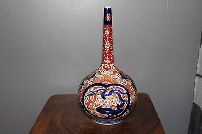 ANTIQUE LARGE JAPANESE PORCELAIN IMARI BOTTLE VASE  / JAR-19thC