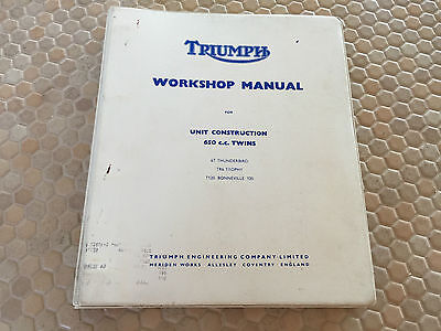 TRIUMPH MOTORBIKE ENGINE WORKSHOP MANUAL MODELS 650cc T6, T120 TR6 1959-1975