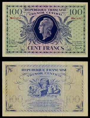 Currency WWII Issue Tresor Central 1943 France 100 Francs Banknote P# 105 VF+