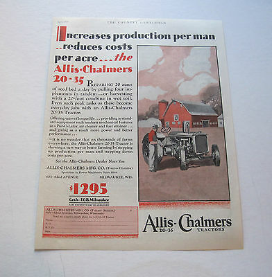 1929  Allis-Chalmers 20-35 Tractor large full page ad