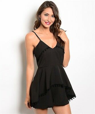 cddeaabc79e7 MISSES SEXY BLACK Fitted Waist Long Sleeve Romper Lace Accents Size ...