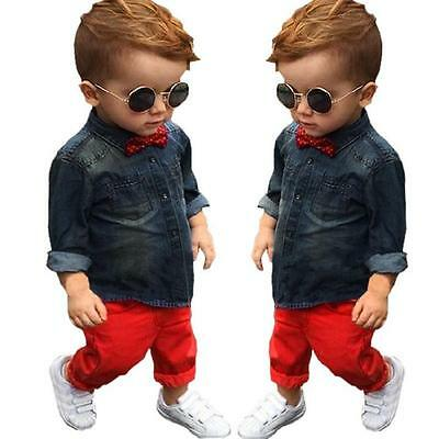 2Pcs Toddler Baby Boys Formal Denim Coat T-Shirt+Red Pants Clothes Outfits CA
