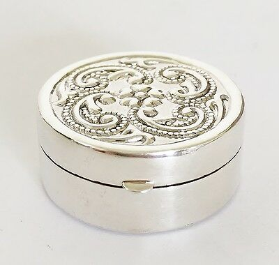 Fine 925 Solid Silver - Pill - Trinket , Snuff Box Table ,   9 grams -