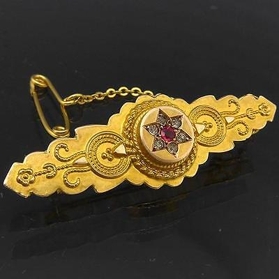 c1880 Antique Victorian Etruscan Style 9k Solid Yellow GOLD BAR BROOCH